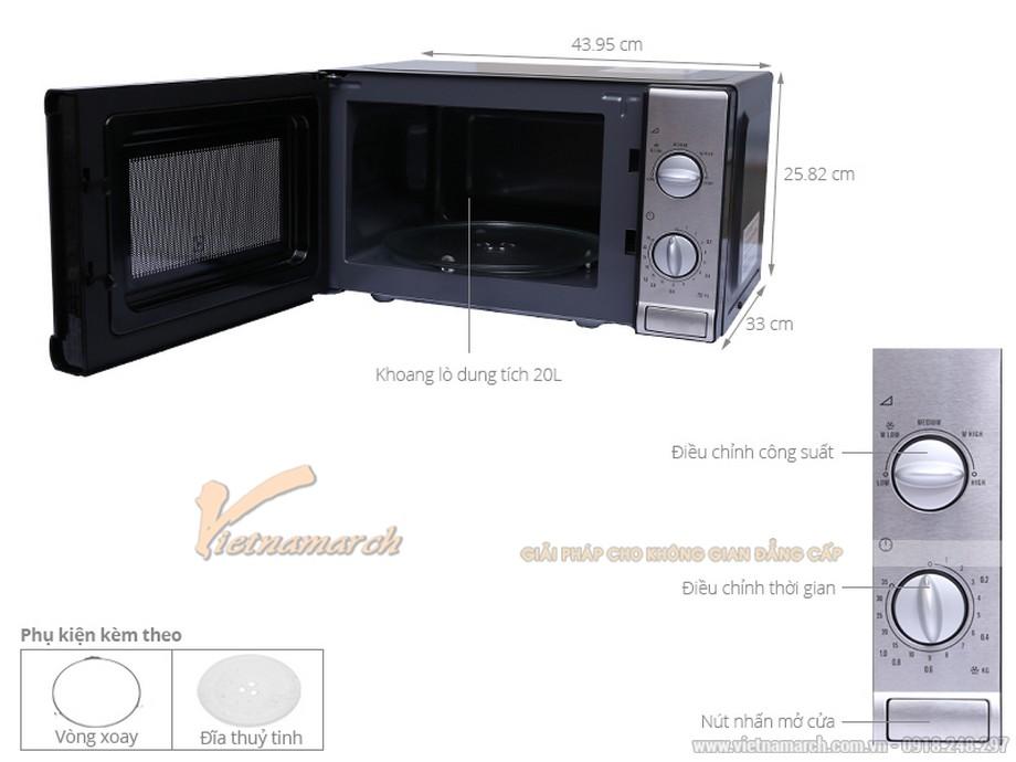 Kích thước lò vi sóng Electrolux EMM2026MX 20L