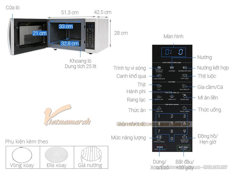 Kích thước lò vi sóng Sharp RG52XVN ST 25L