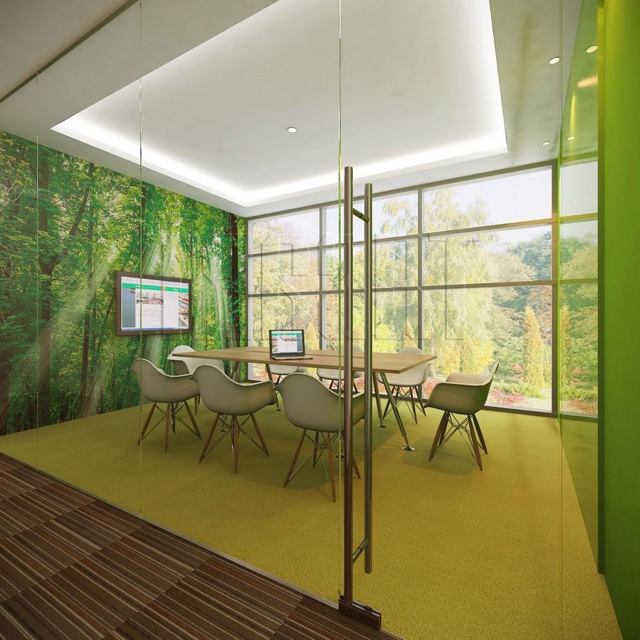 Cá tính, chuyên nghiệp với mẫu thiết kế phòng họp đầy cây xanh