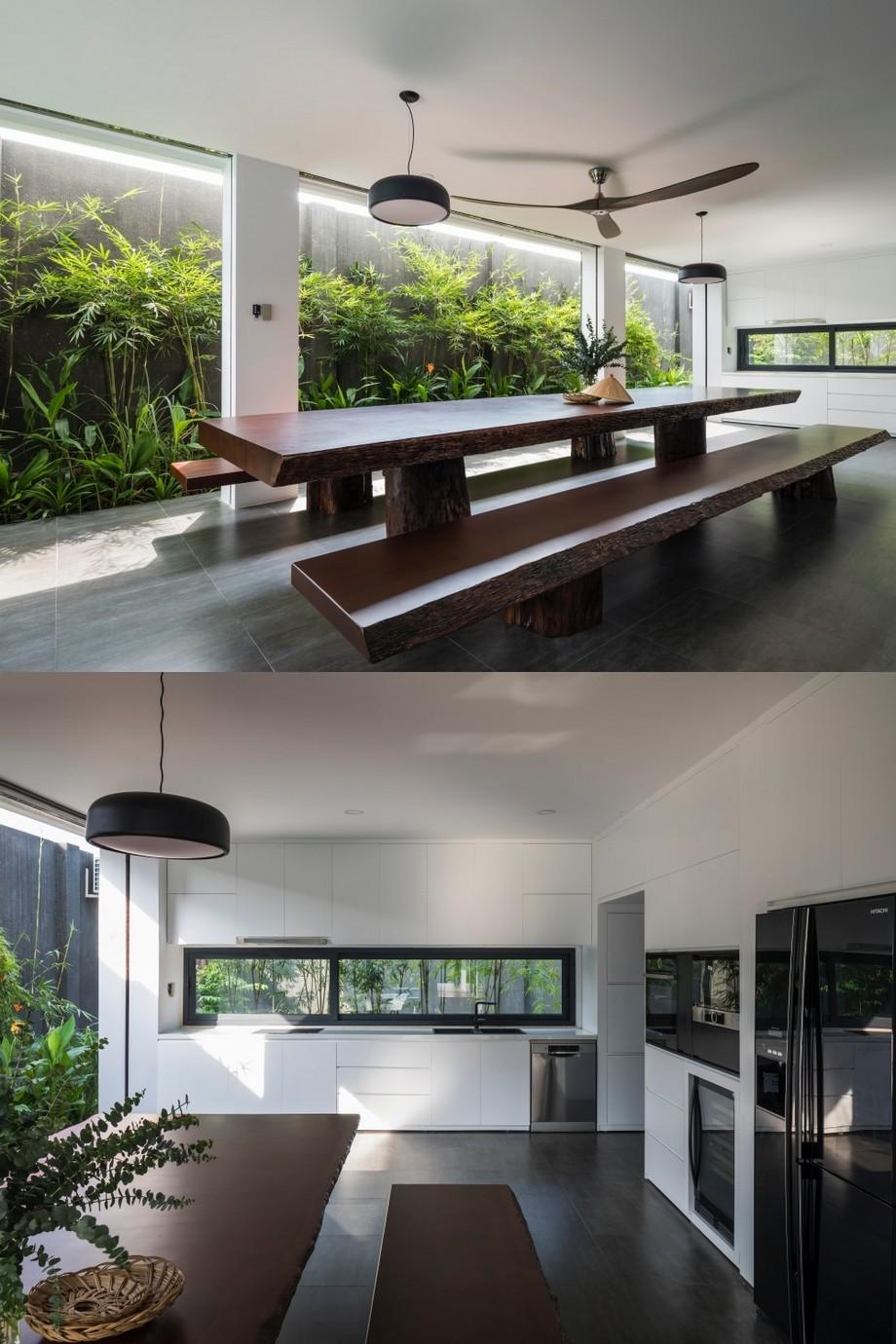 Thiết kế phòng bếp, phòng ăn mở ra không gian xanh