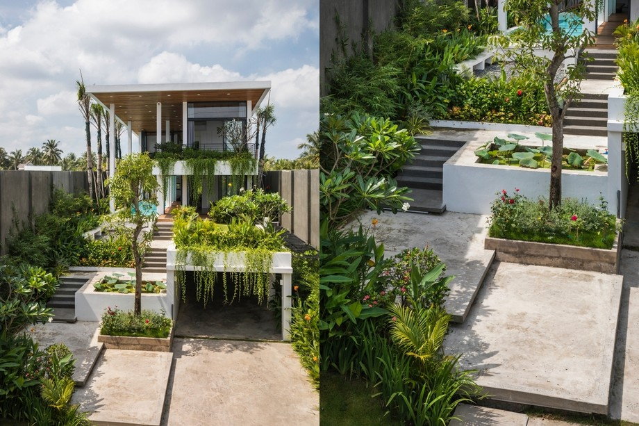 """Thiết kế sân vườn, tiêu cảnh tràn ngập cây xanh như """"resort"""" tại gia"""