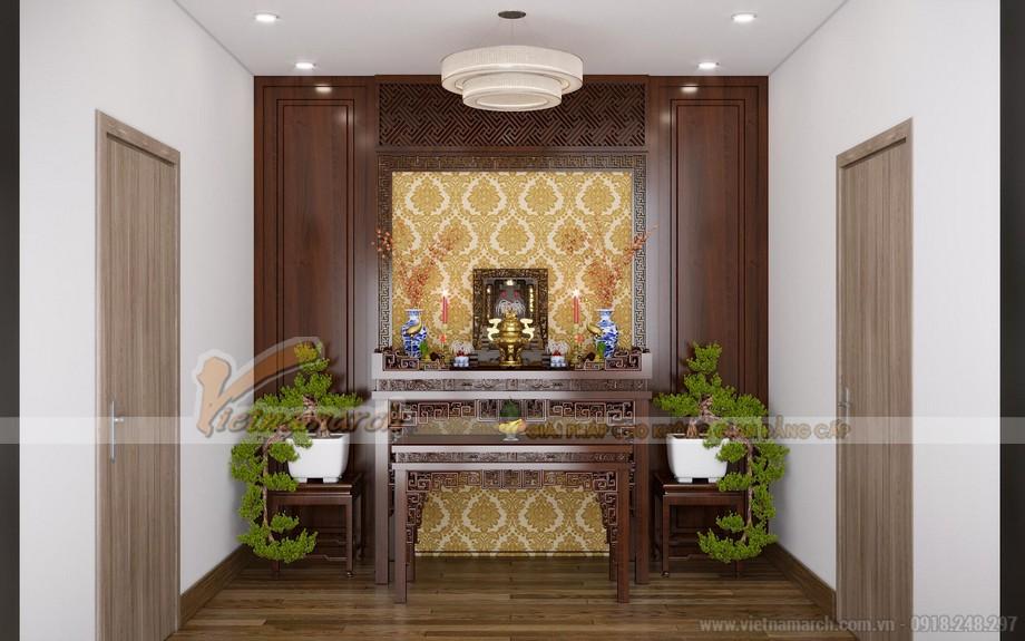Thiết kế phòng thờ vừa truyền thống, vừa hiện đại