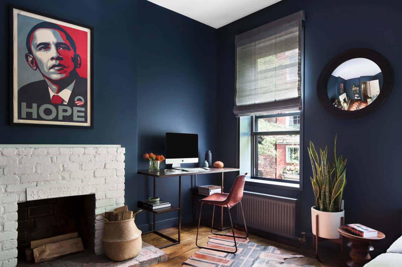 Thiết kế văn phòng với gam màu xanh đậm