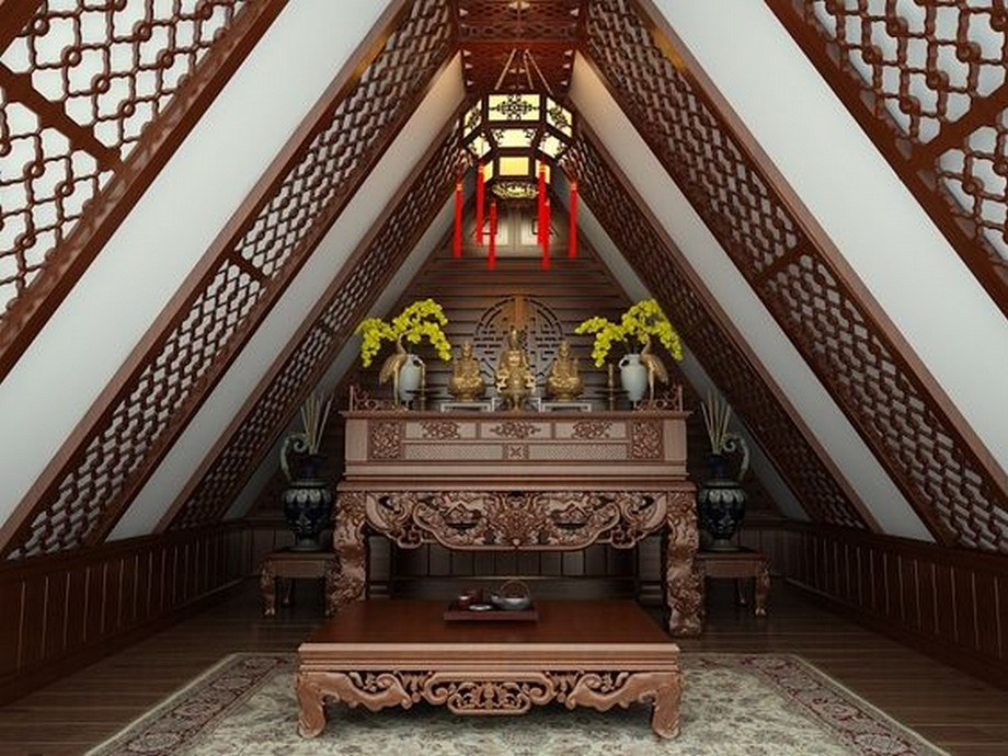 Trần thạch cao kết hợp gỗ CNC cho không gian phòng thờ