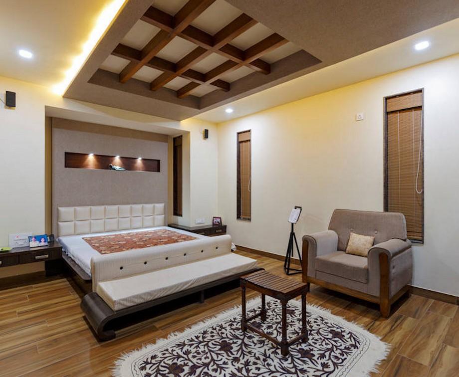 Trần thạch cao kết hợp gỗ CNC cho không gian phòng ngủ