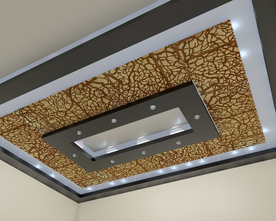Trần thạch cao kết hợp gỗ CNC cho không gian phòng khách