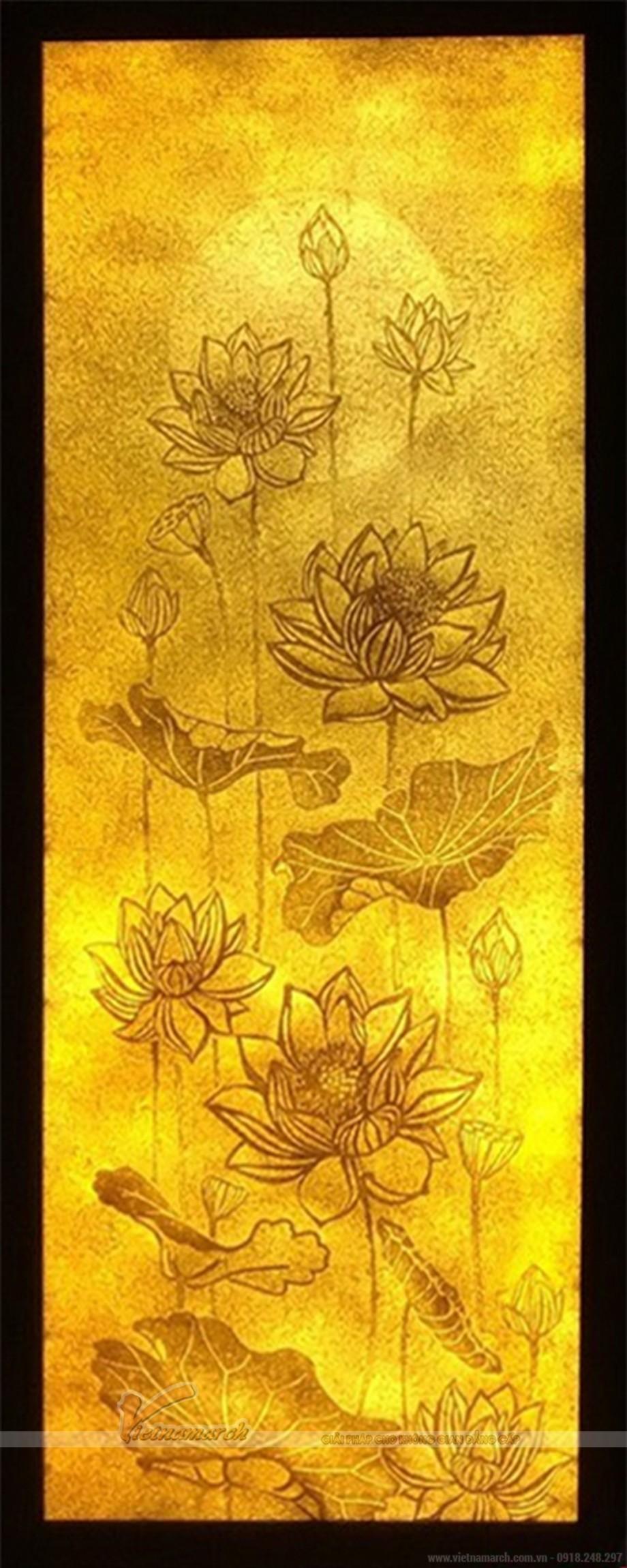 Bộ sưu tập tranh trúc chỉ hoa sen cho không gian phòng thờ