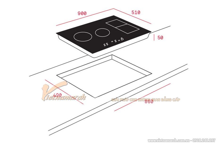 Kích thước bếp từ Teka IRF-9430 4 vùng nấu