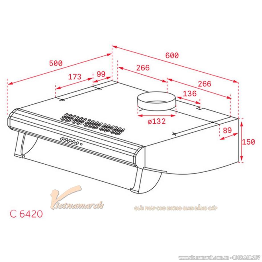 Kích thước máy hút mùi Teka C 6420 BK BLACK cổ điển