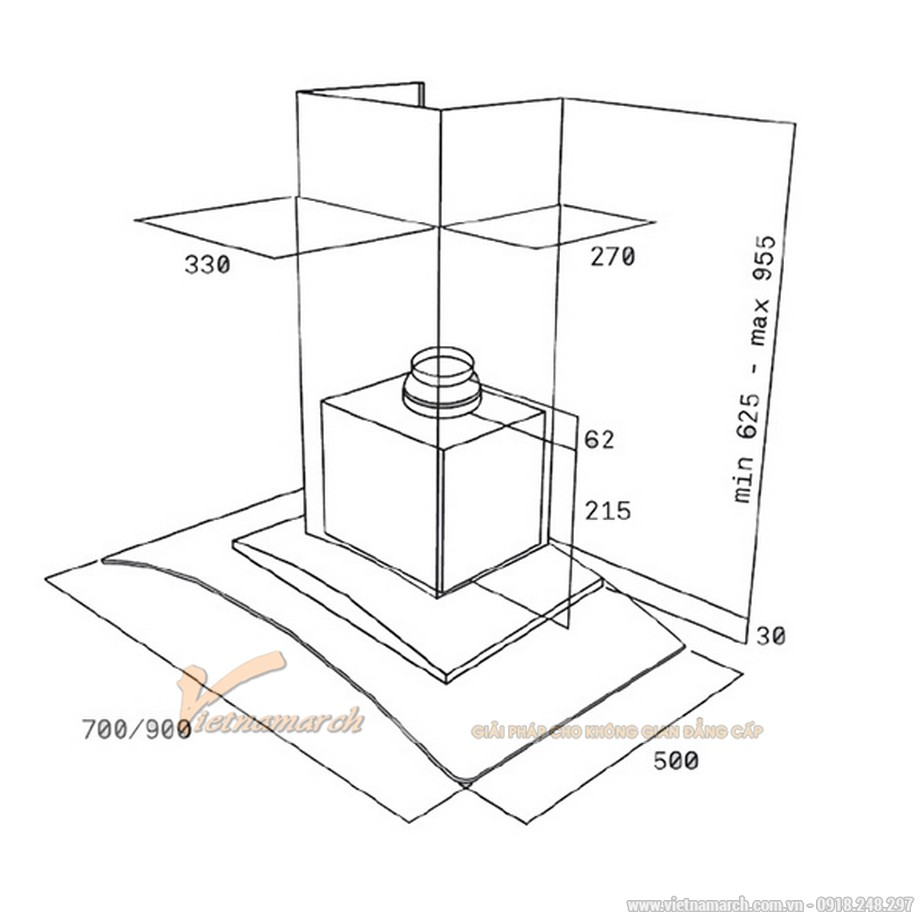 Kích thước máy hút mùi Teka NC 980/780 kính cong