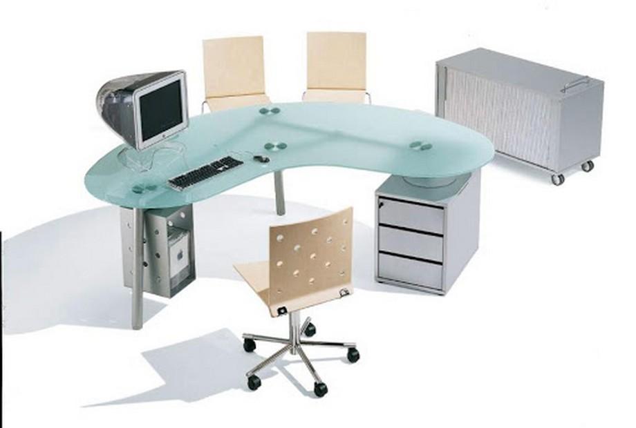 Mẫu bàn làm việc giám đốc mặt kính trẻ trung- hiện đại