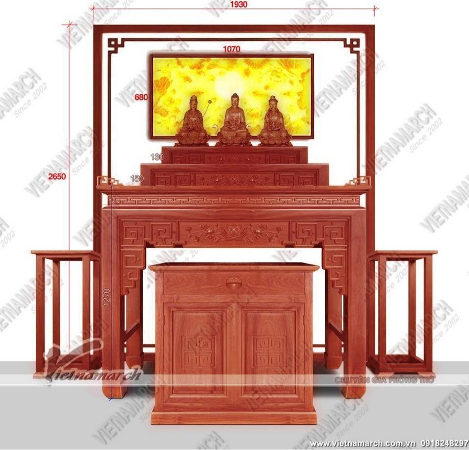 Ban thờ đứng tam cấp: ban thờ gia tiên kết hợp thờ Phật triện sen - BTD21