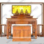 Tuyệt tác ban thờ đứng tam cấp: ban thờ gia tiên kết hợp thờ Phật triện sen – BTD21