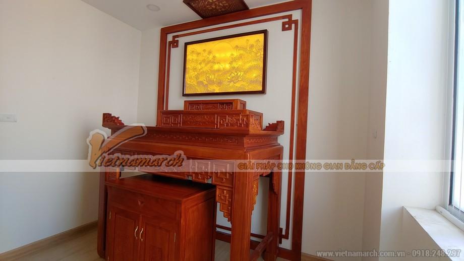 Bàn thờ tam cấp triện sen gỗ hương cho chung cư tại Cầu Giấy