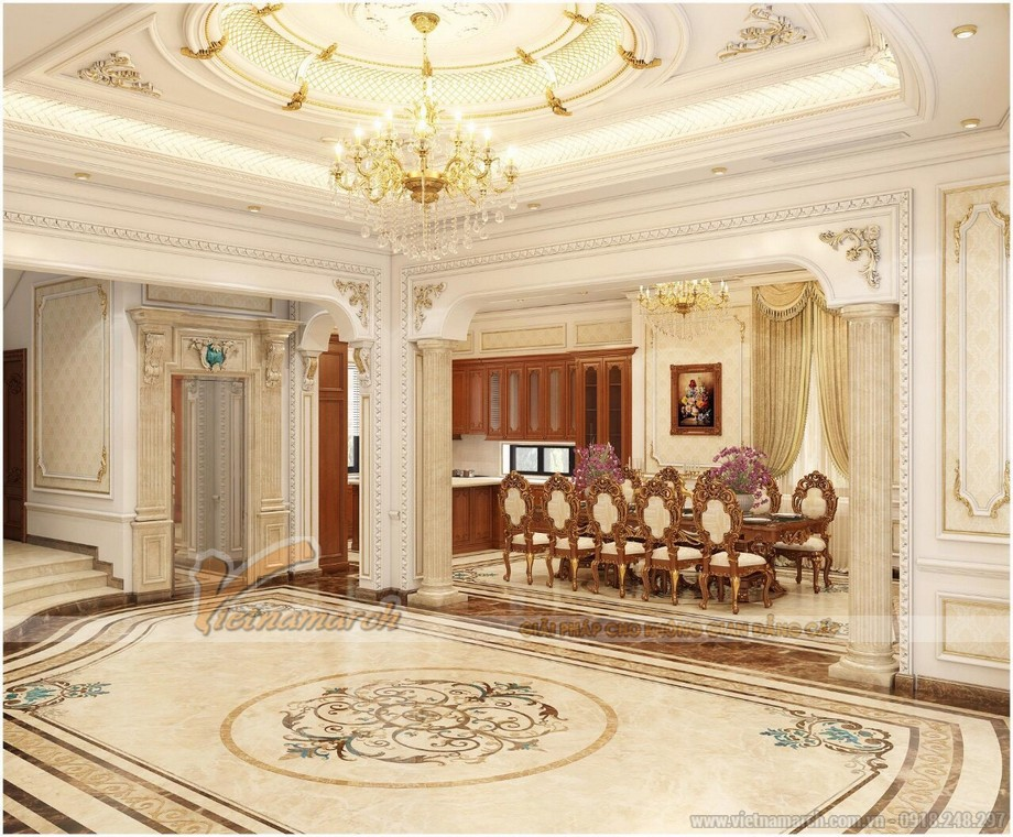 Bản vẽ thiết kế biệt thự tân cổ điển 4 tầng full