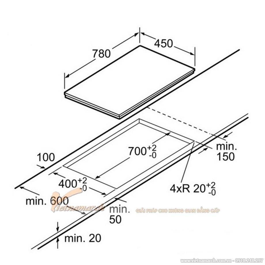 Kích thước bếp từ Bosch PPI-82560-MS 2 vùng nấu