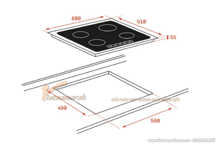 Kích thước bếp từ Teka IB-6315 3 vùng nấu