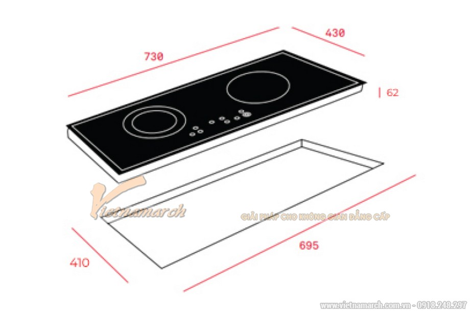 Kích thước bếp từ Teka IB-702 2 vùng nấu