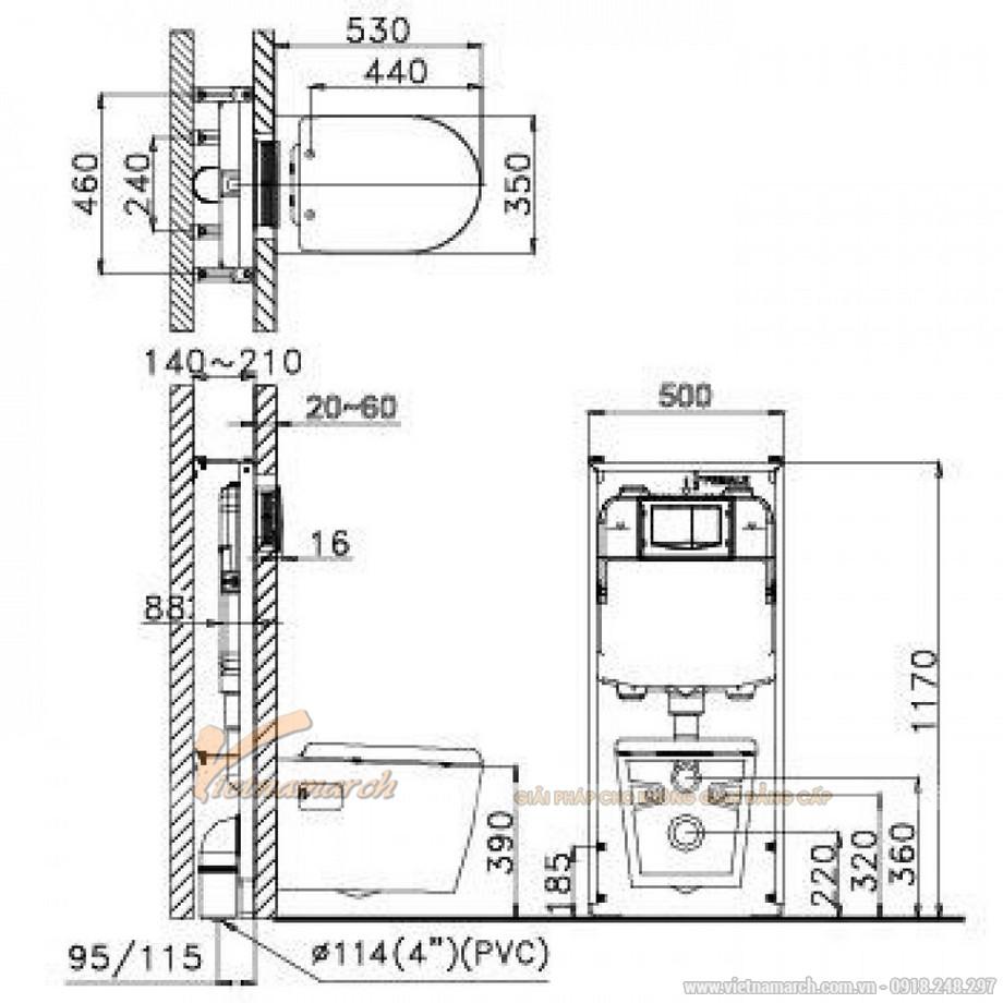 Kích thước xí bệt CAESAR CPT1503 Treo Tường