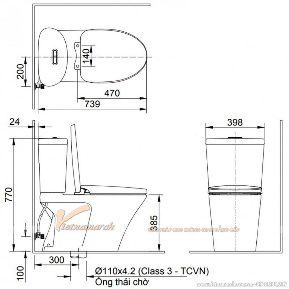 Kích thước xí bệt INAX AC-700VAN 2 Khối