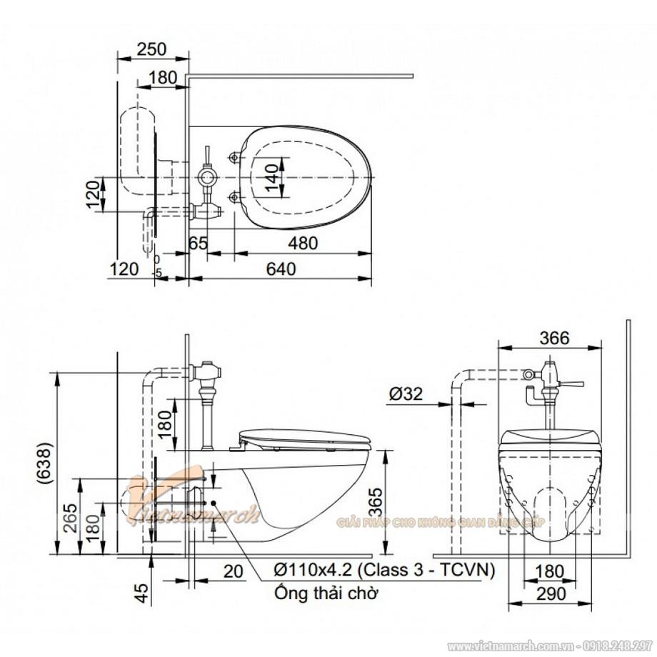 Kích thước xí bệt INAX AC-22PVN Treo Tường