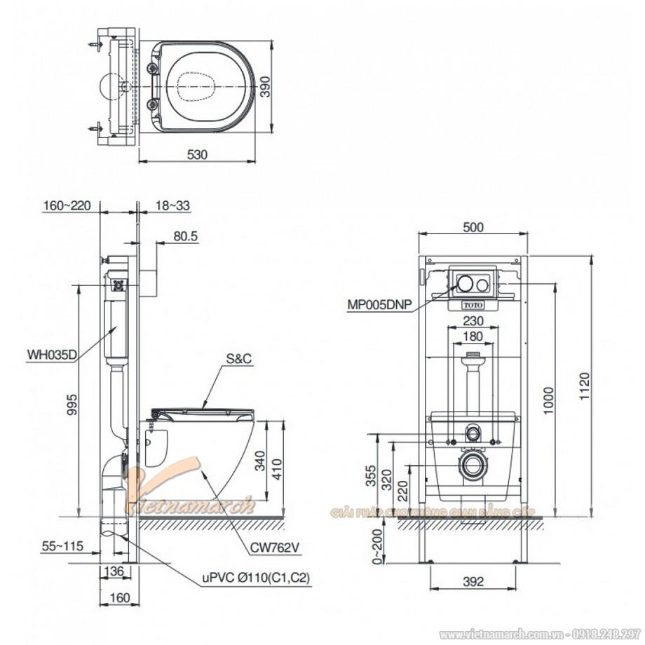 Kích thước xí bệtToto treo tường CW762/WH035D/MB005DCP