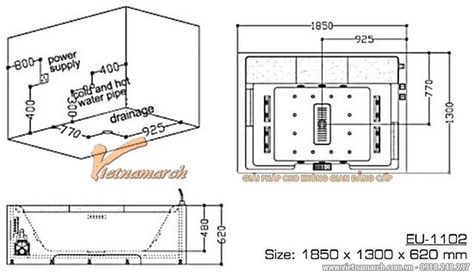 Kích thước bồn sụcđôiEuroking M1102A