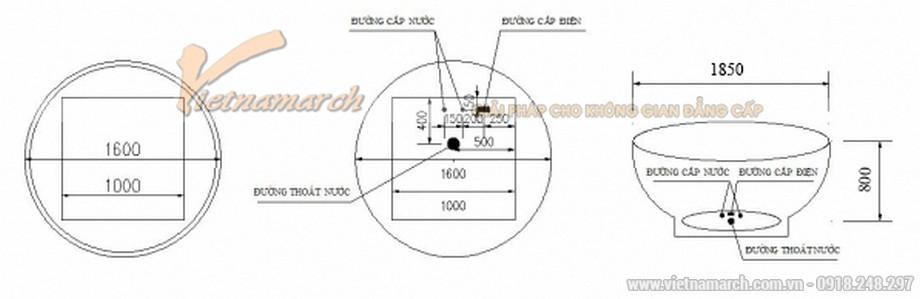 Kích thước bồn sục Govern hình tròn độc lậpJs 8185