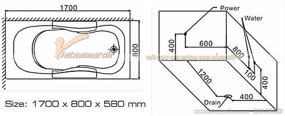 Kích thước Bồn tắm đơn massage Euroking EU-6149D