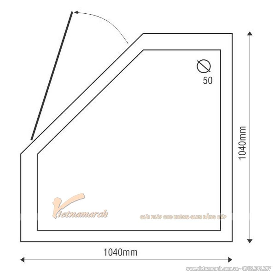 Kích thước bồn tắm đứng EUROCA SR G3C vát góc