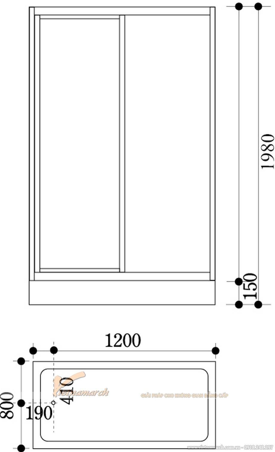 Kích thước bồntắm đứng Govern hình chữ nhật JS 8137