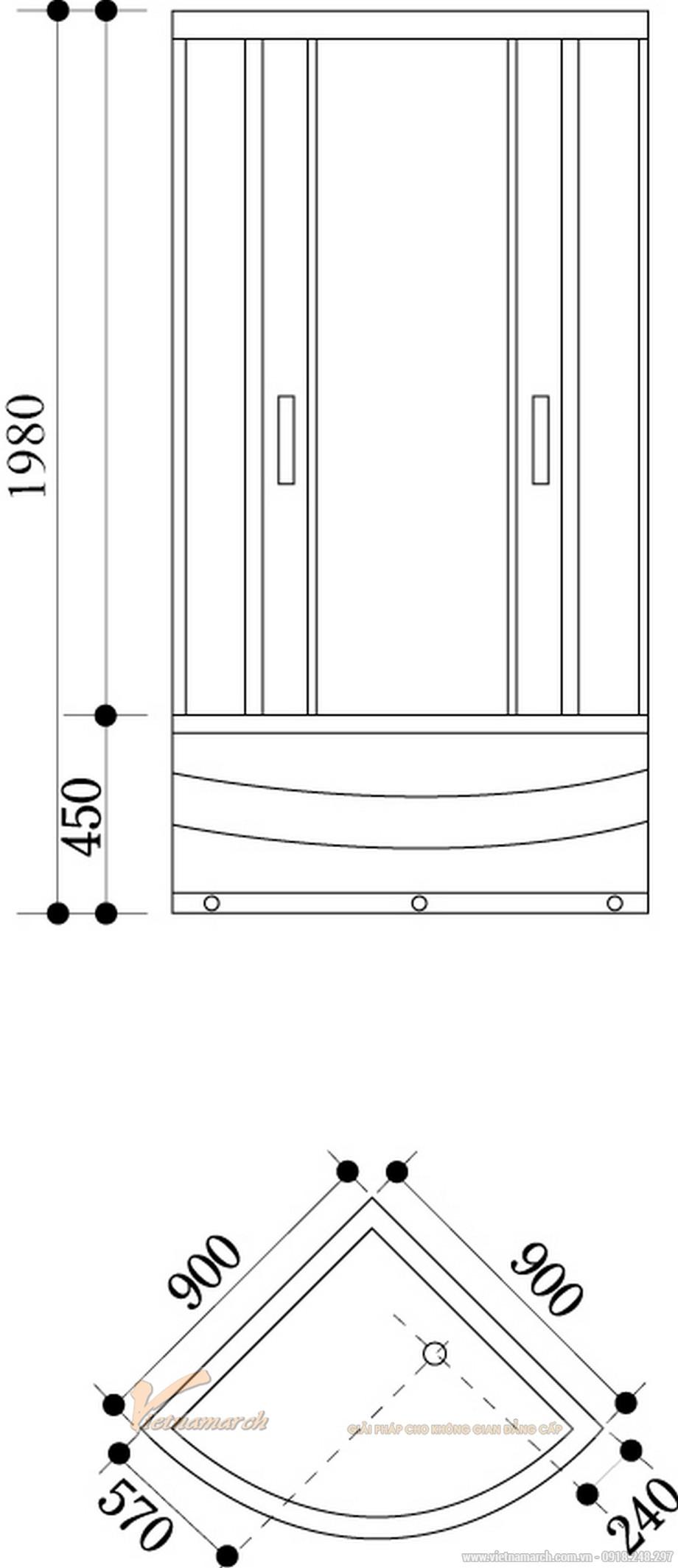Kích thước bồntắm đứng Govern JS 8122 đặt góc đế cao