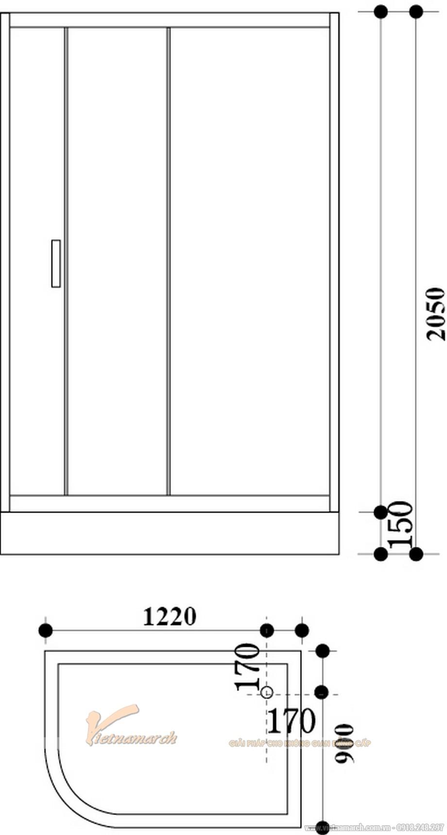 Kích thước bồntắm đứng Govern JS 8130 đặt gócđế thấp