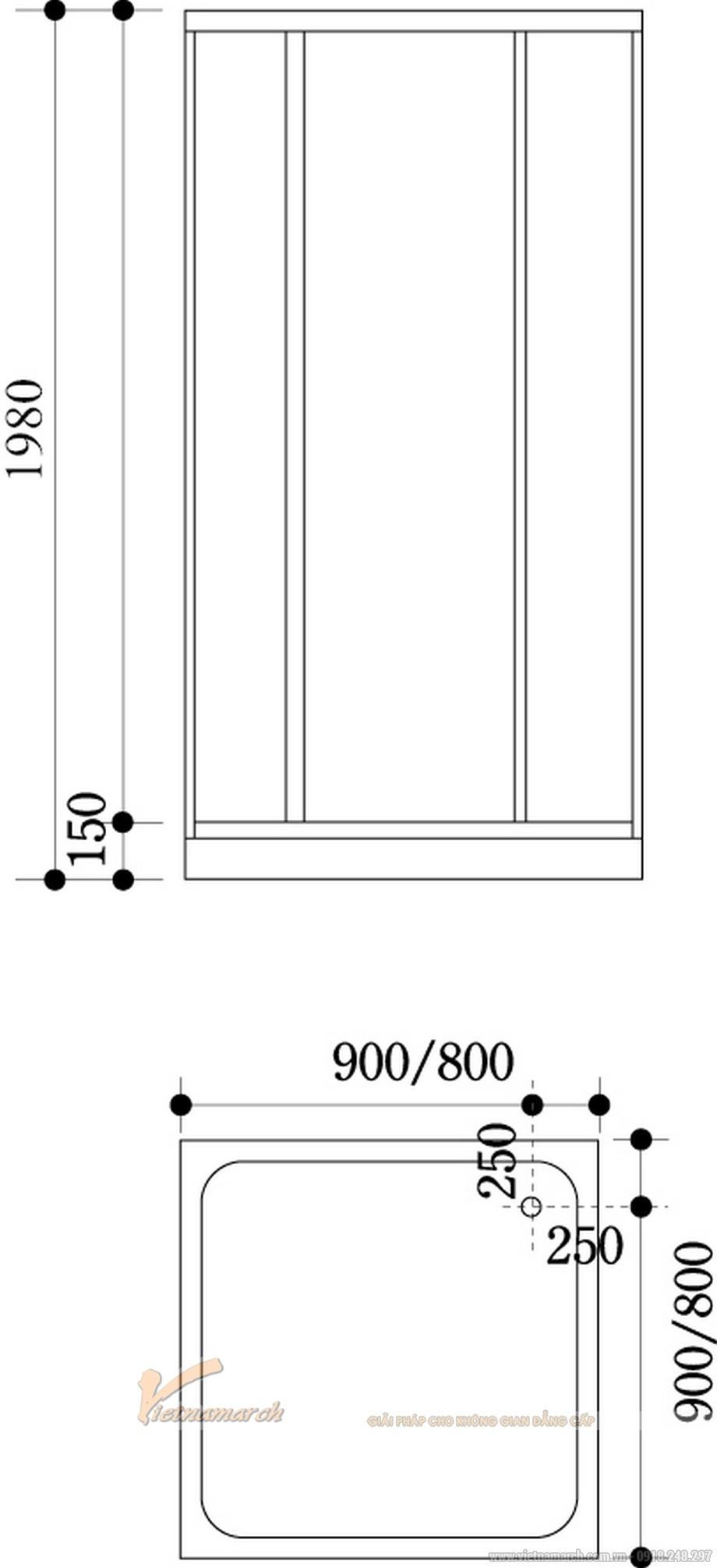 Kích thước bồntắm đứng Govern JS 8127 hình vuông