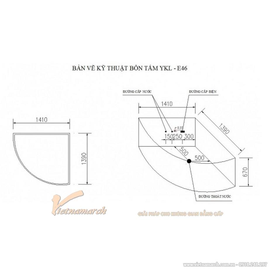 Kích thước bồn Tắm Nằm Góc Massage Màu Govern YKL-E46