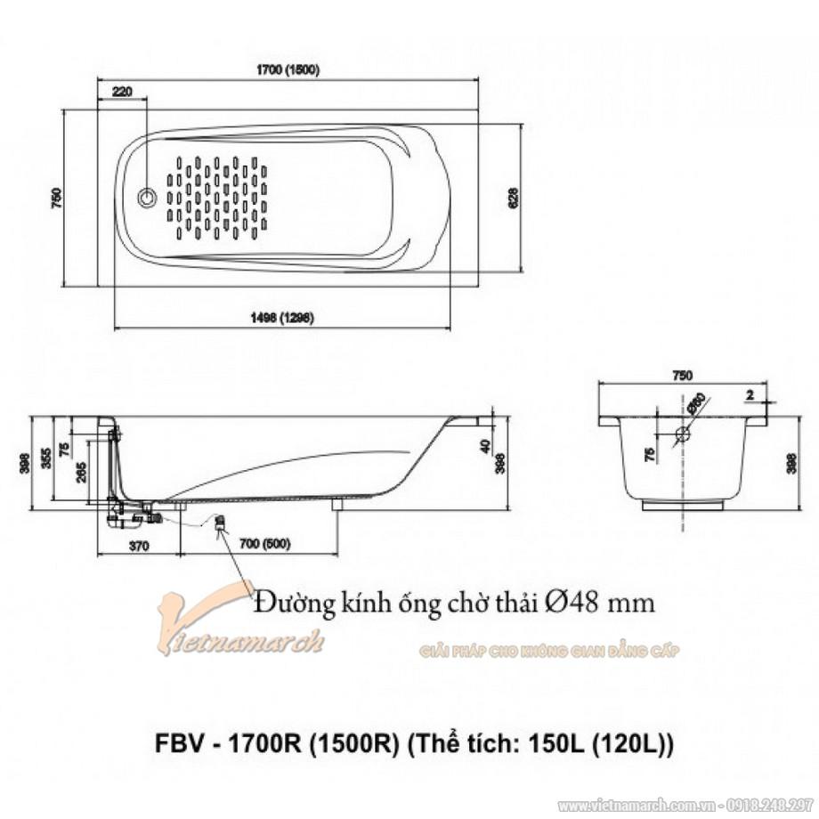Kích thước bồn tắm Inax FBV-1500R xây 1,5m Ocean