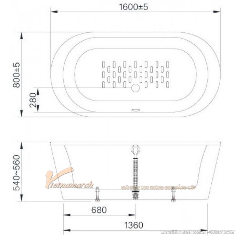 Ksich thước bồn tắm Inax BF-1656V lập thể 1,6m