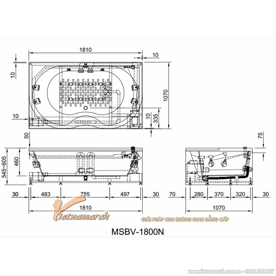Kích thước bồn tắm Inax MSBV-1800N massage 1,8m