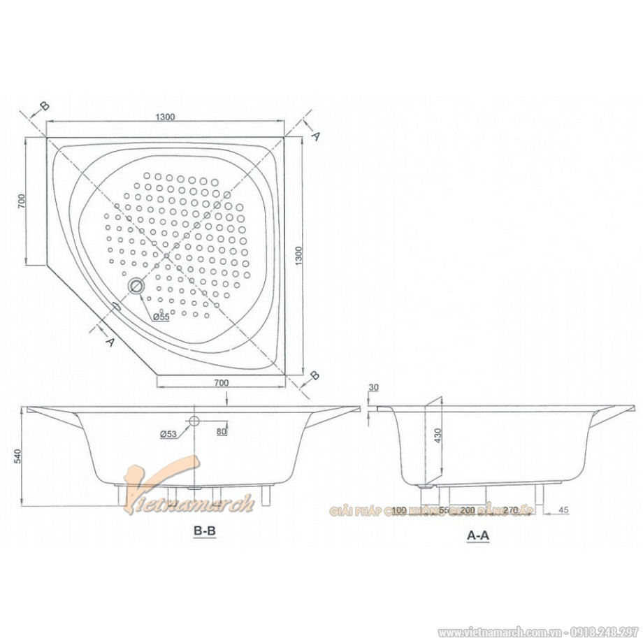 Kích thước bồn tắm góc TOTO PAY1300PE/DB505R-2B 1m3