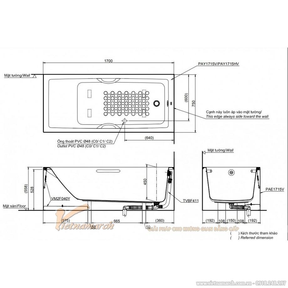 Kích thước bồn tắm TOTO PAY1715HVC/TBVF411 chân yếm 1m7