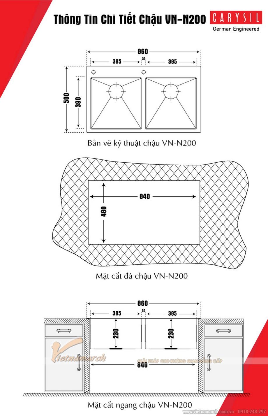 Kích thước chậu rửa đôi không bàn Carysil VN-N200