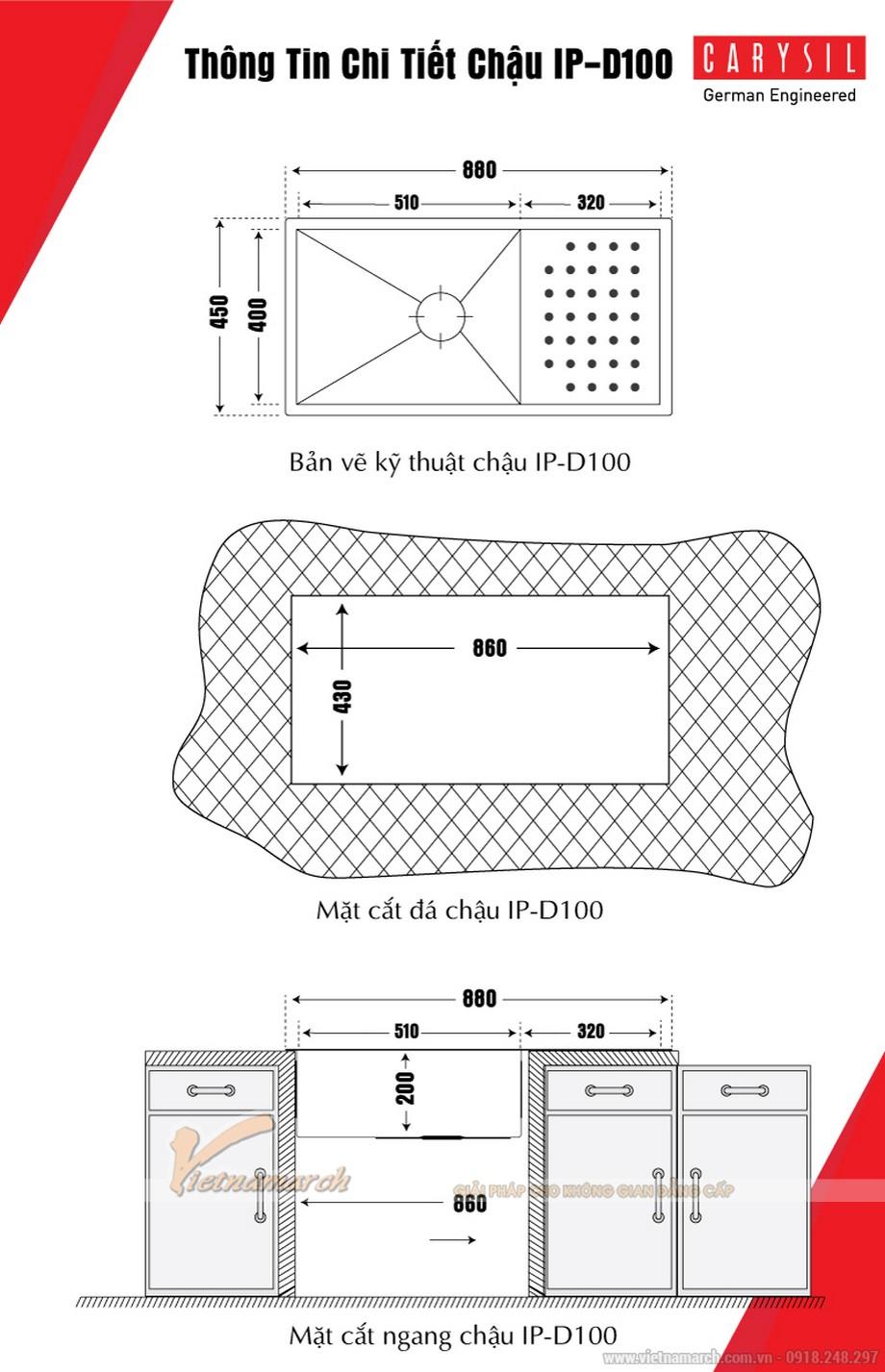 Kích thước chậu rửa đơn có bàn Carysil 304-IPD100-02
