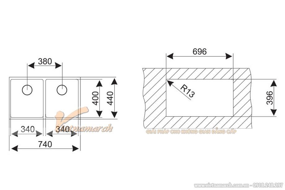 Kích thước chậu rửa đôi không bàn Teka LINEA-R15-2B-740