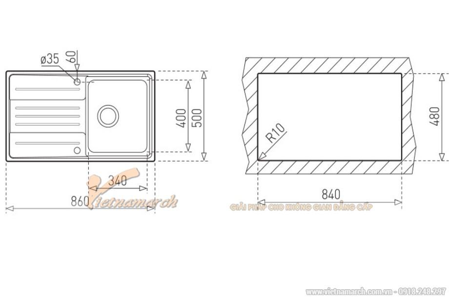 Kích thước chậu rửa đơn có bàn Teka STAGE-45-1B-1D