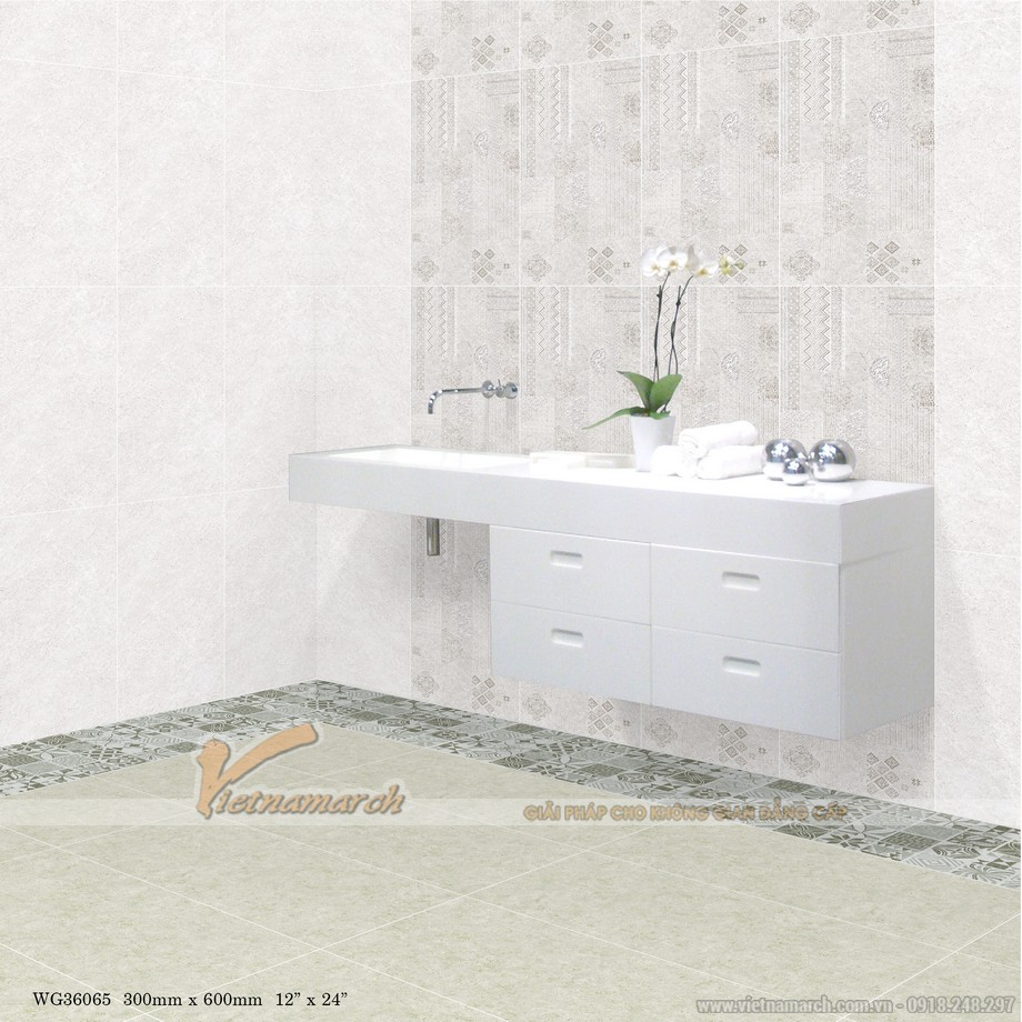 Kích thước gạch ốp tường phòng tắm