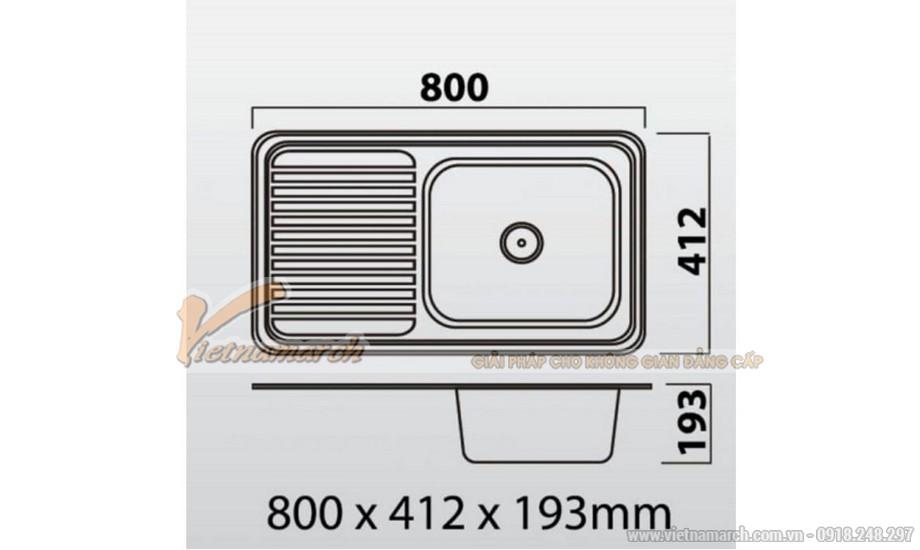 Kích thước chậu rửa đơn có bàn