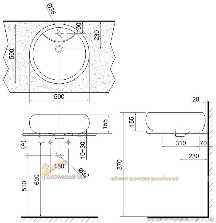 Kích thước lavabo đặt bàn