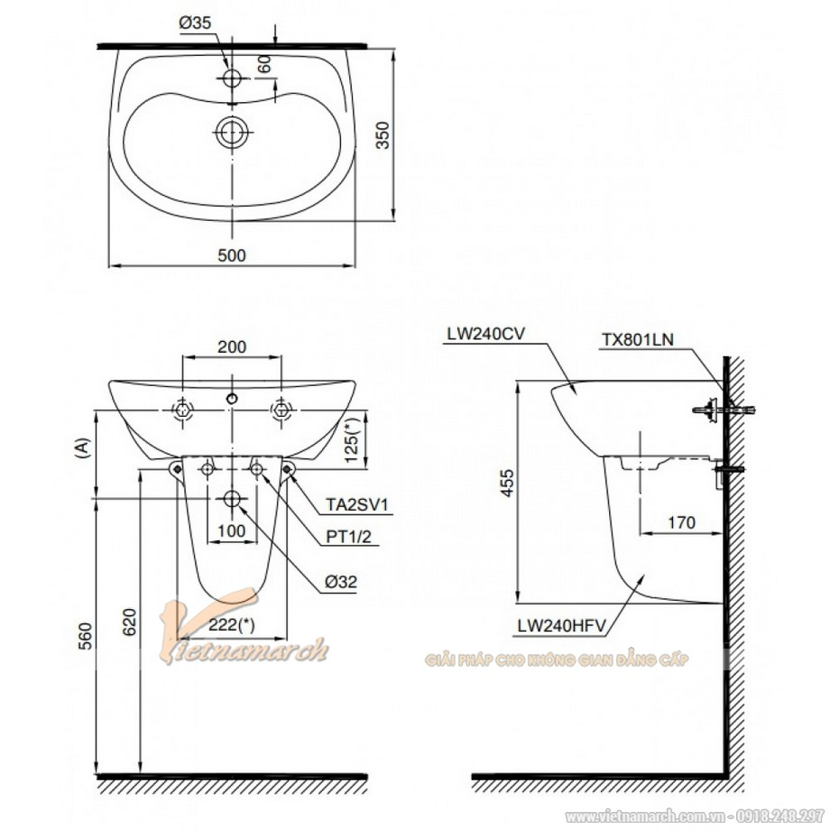 Kích thước lavabo TOTO LHT240CS treo tường chân ngắn