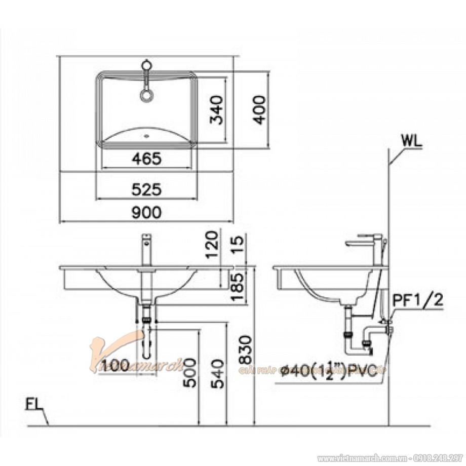 Kích thước chậu Lavabo Âm Bàn CAESAR L5125 Chữ Nhật