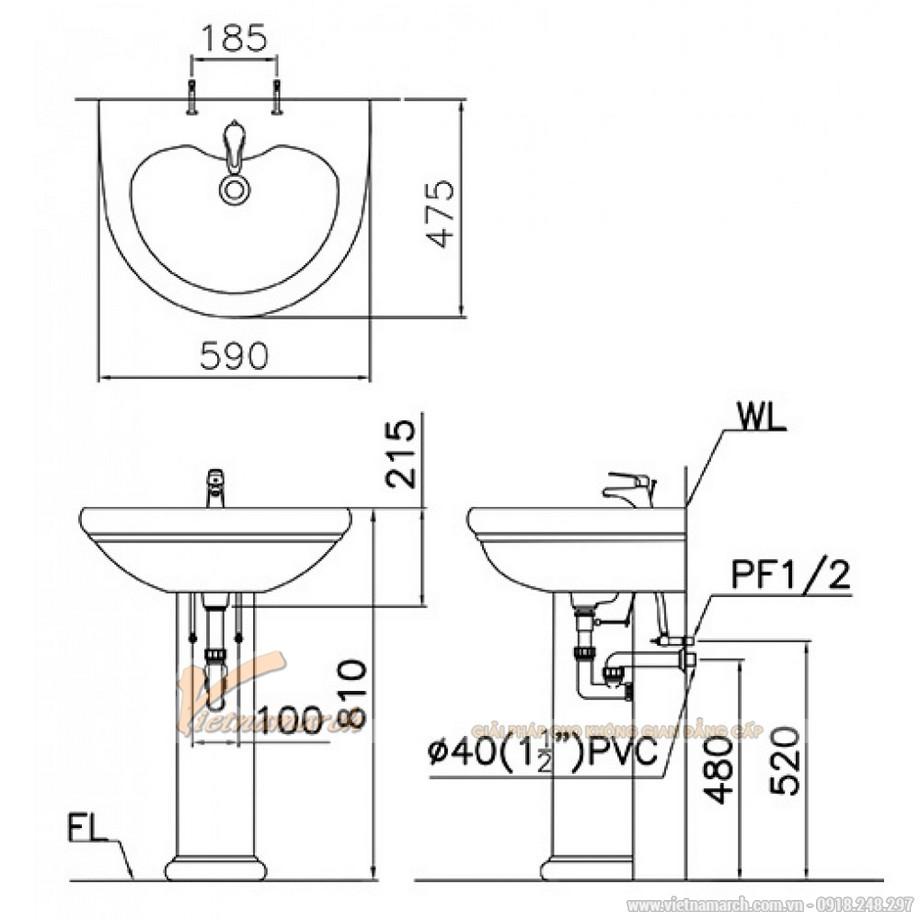 kích thước lavabo Caesar treo tường chân dài L2230-P2432